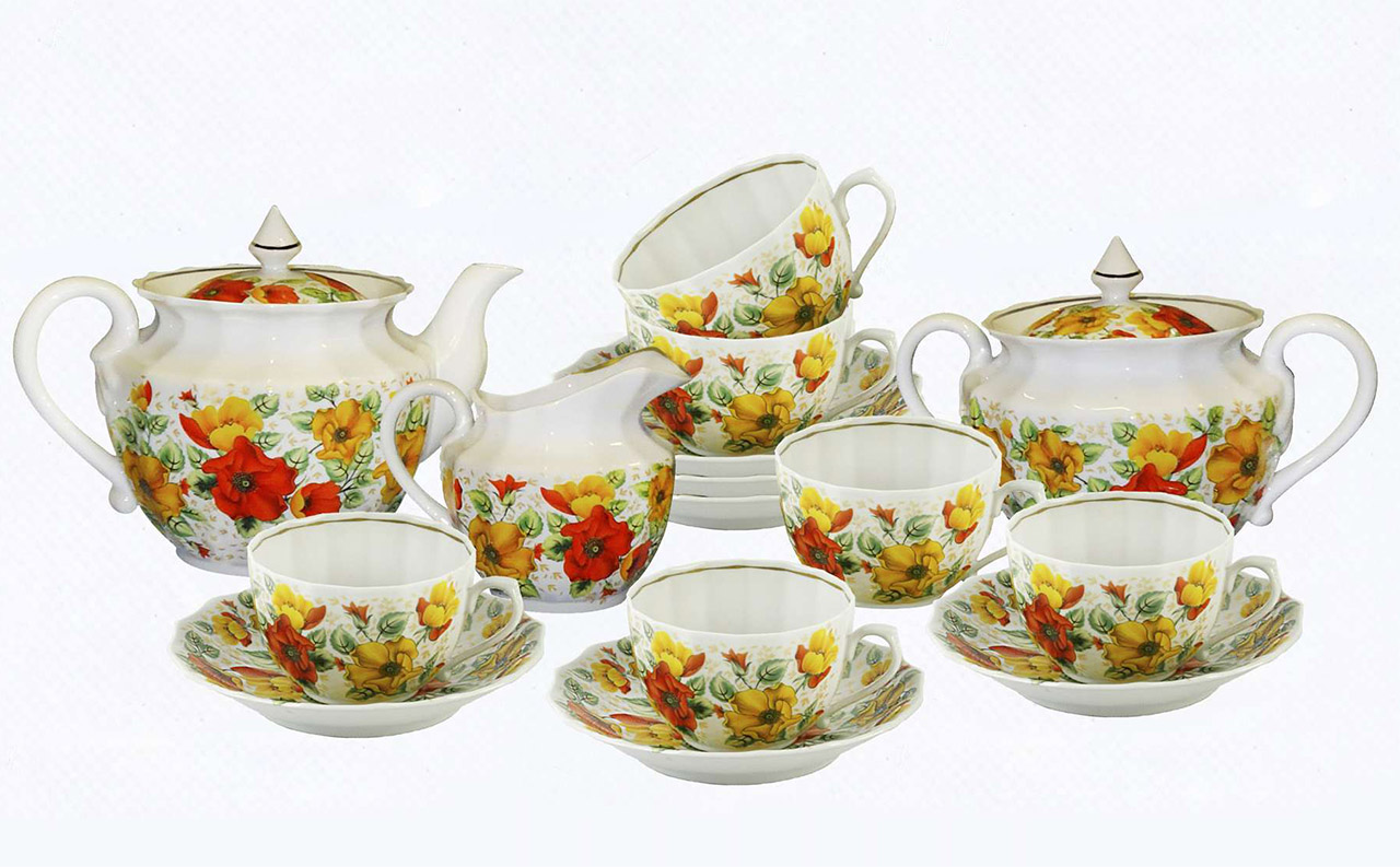 Фото Сервиз чайный Оранжевое лето 15 предметов Ампир