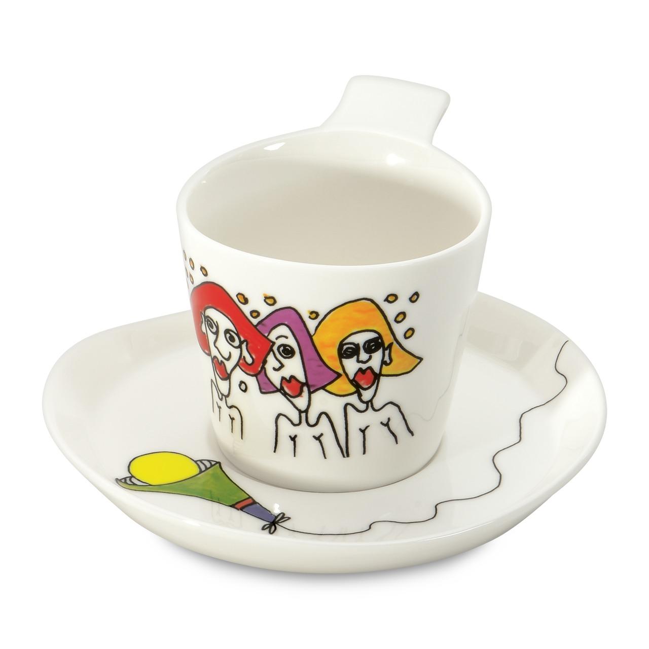 Фото Набор чашек для кофе с блюдцем 180 мл BergHOFF Eclipse ornament 2 шт