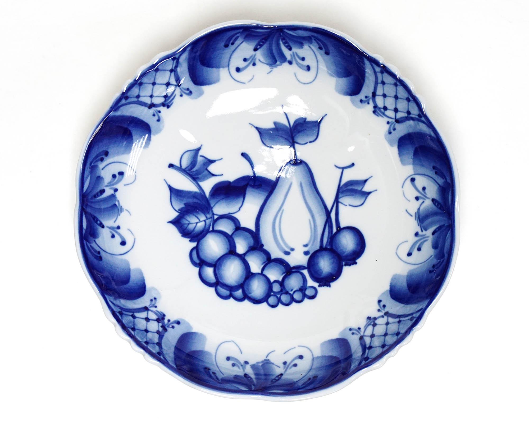 Фото Ваза для фруктов Юбилейная Гжель Фрукты 24 см