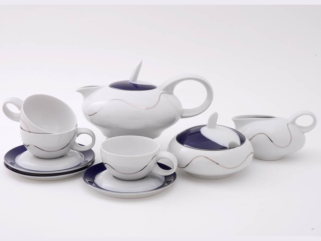 Фото Сервиз чайный 15 предметов на 6 персон, Форма Тереза Платиновая волна кобальт