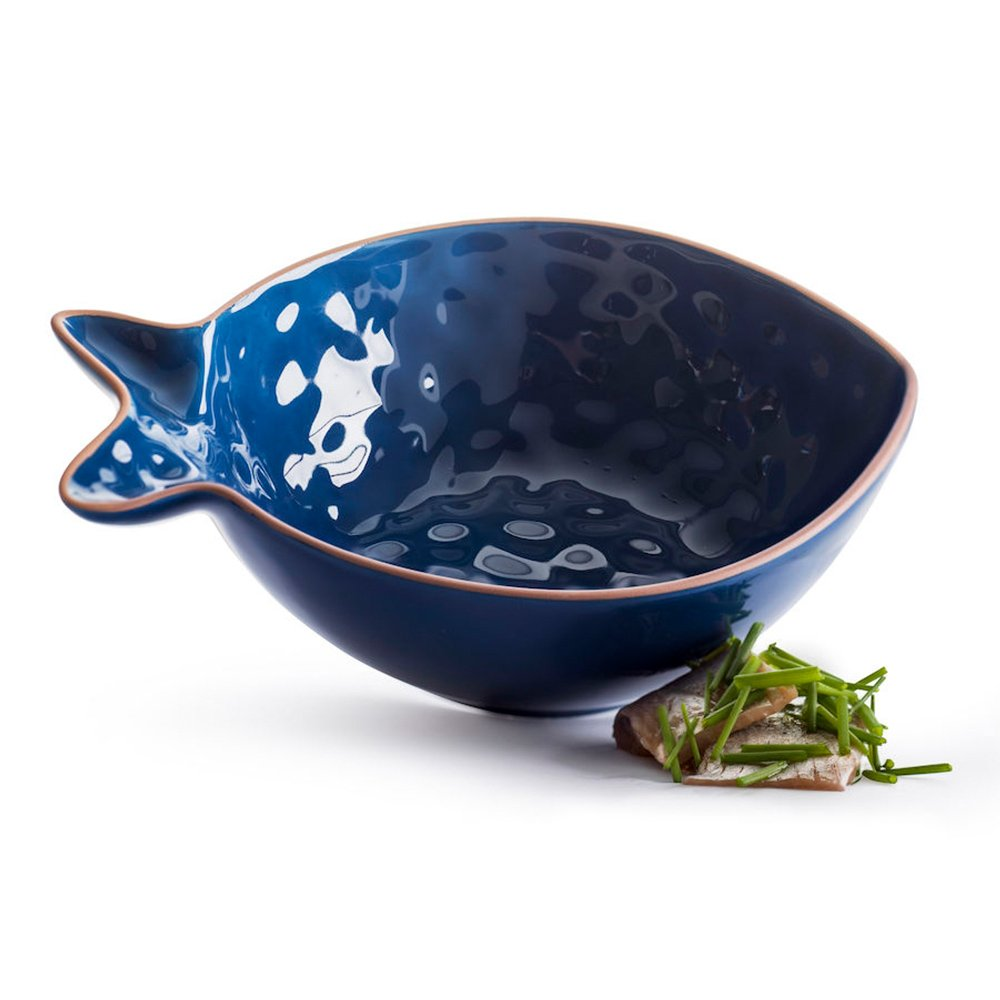 Фото Блюдо сервировочное Рыба малое синее SagaForm Kitchen 18 см