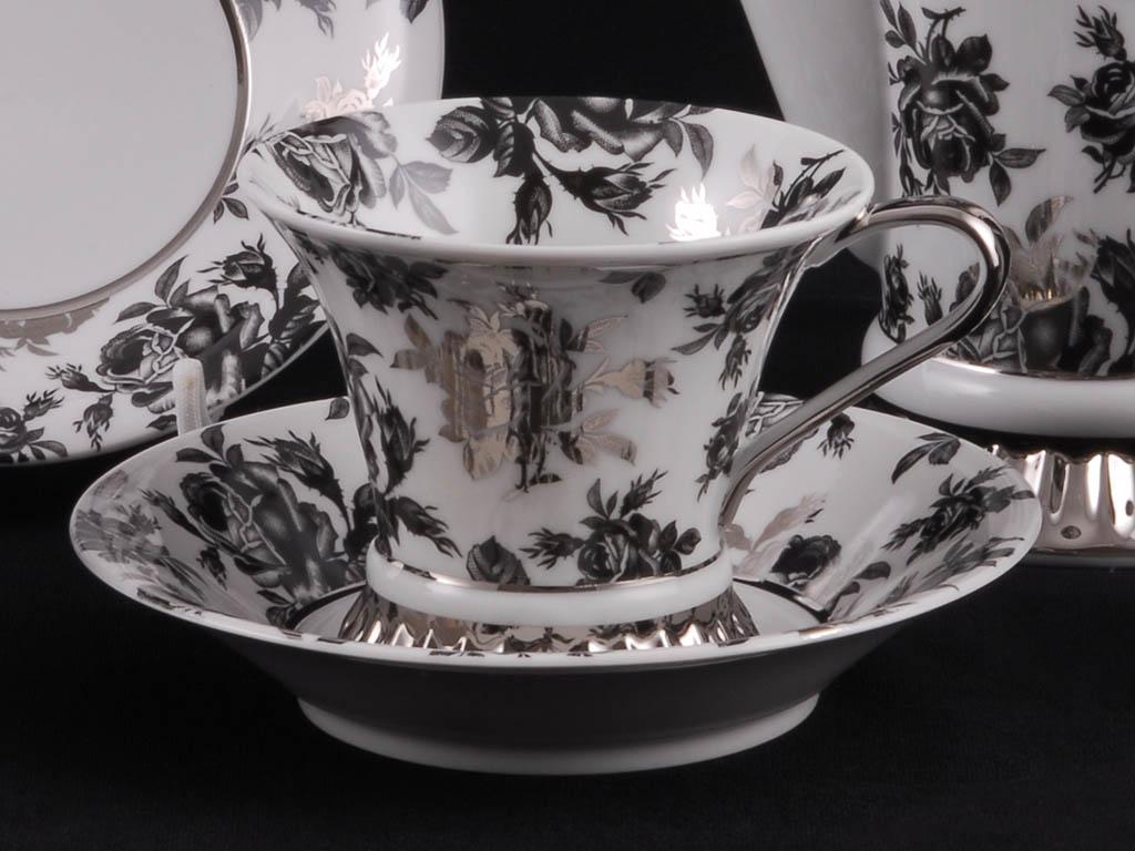 Фото Чайная пара 200 мл, Форма Светлана Черная роза с платиной