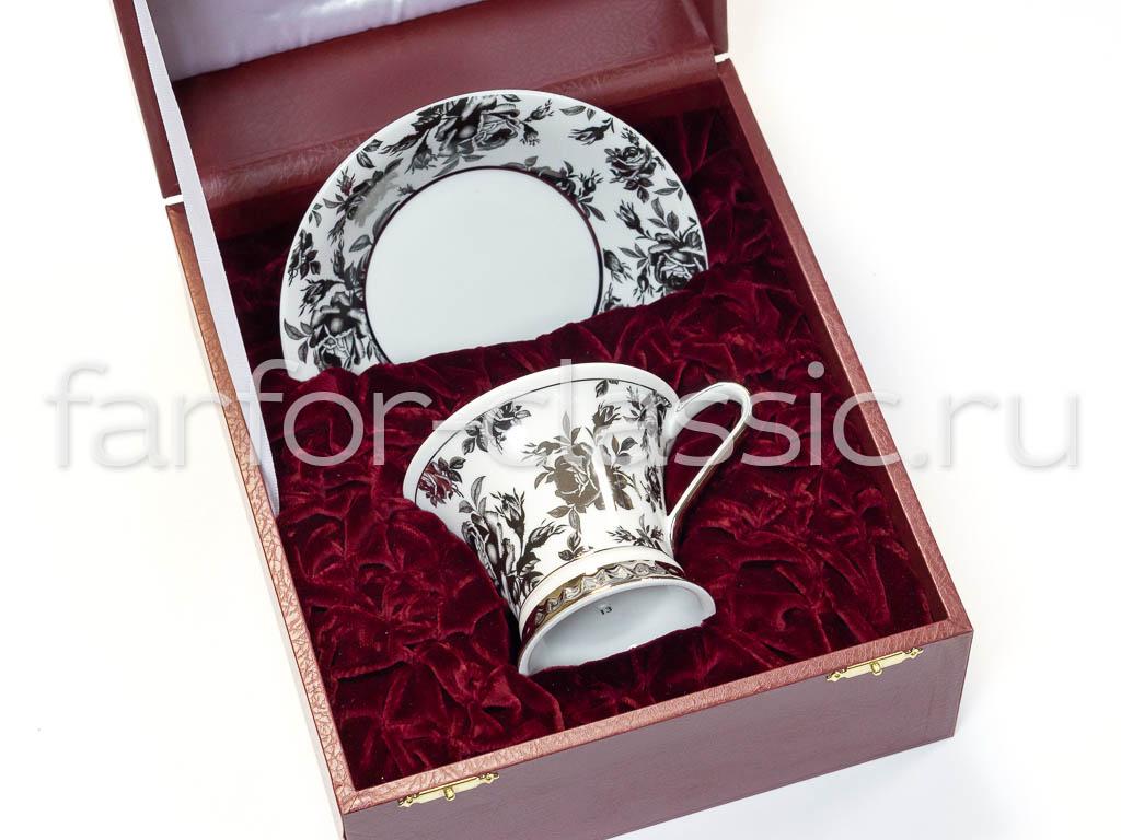 Фото Чайная пара 200 мл, Форма Светлана Черная роза с платиной - Подарочная упаковка