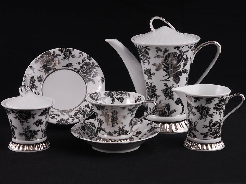 Фото Сервиз чайный 15 предметов на 6 персон, Форма Светлана Черная роза с платиной