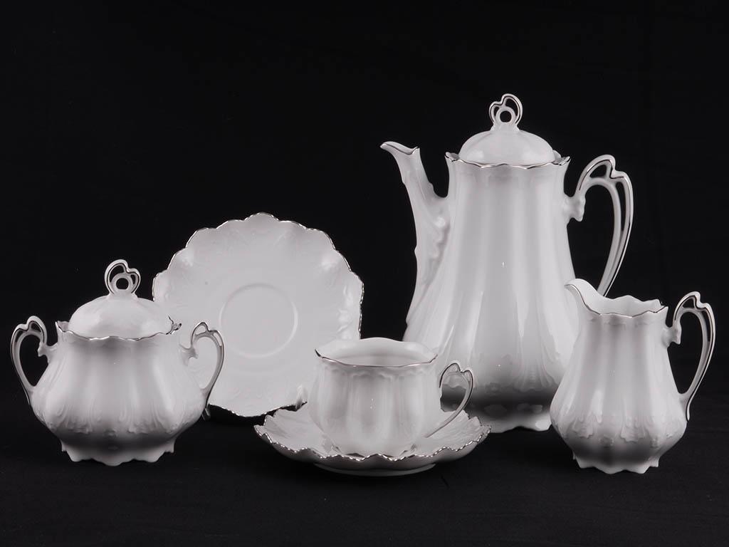 Фото Сервиз чайный 15 предметов на 6 персон Форма Виктория Платиновый рельеф