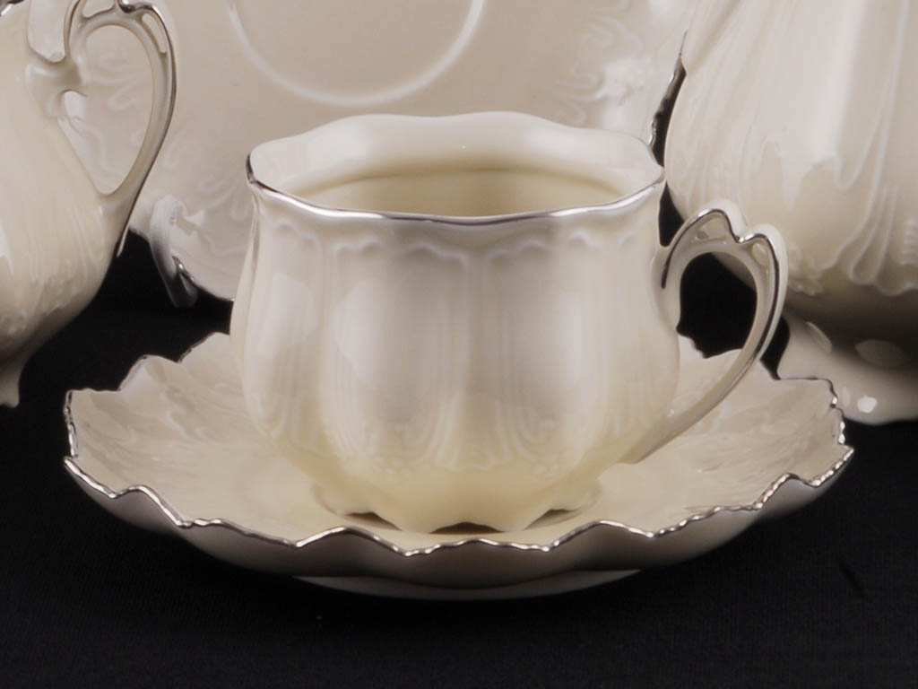 Фото Набор чашек с блюдцем 200 мл, 6 шт Форма Виктория Платиновый рельеф - Слоновая кость