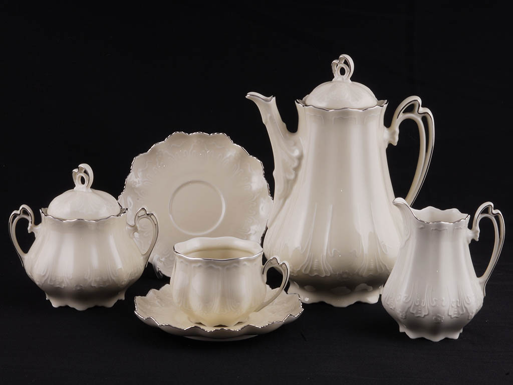 Фото Сервиз чайный 15 предметов на 6 персон Форма Виктория Платиновый рельеф - Слоновая кость