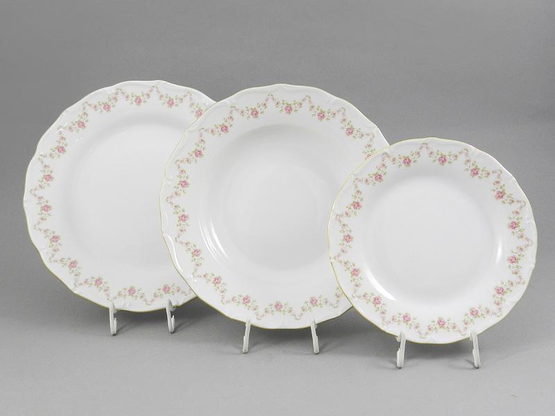 Фото Набор тарелок 18 предметов с десертной тарелкой 19 см Форма Верона Розовый бордюр