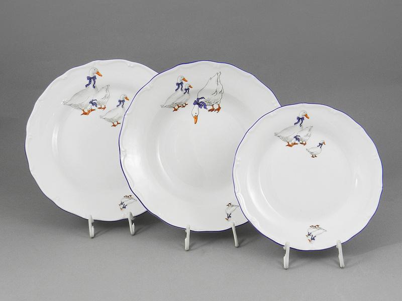 Фото Набор тарелок 18 предметов с десертной тарелкой 19 см, Форма Верона Чешские гуси