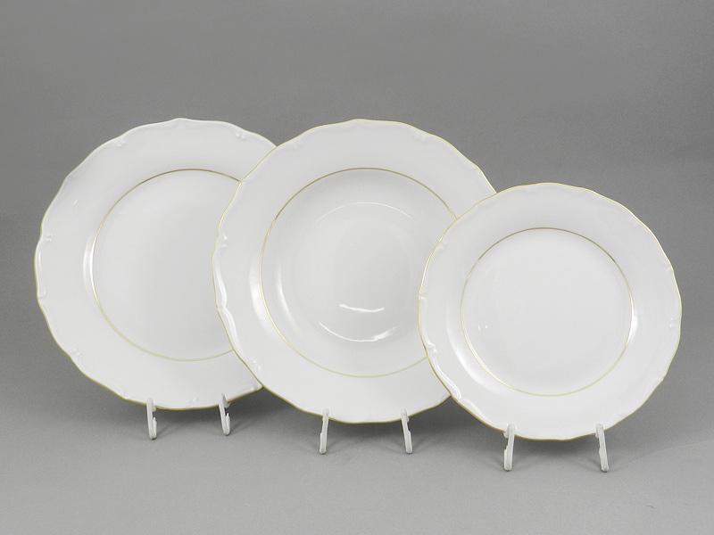 Фото Набор тарелок 18 предметов с десертной тарелкой 19 см Форма Верона Золотой контур