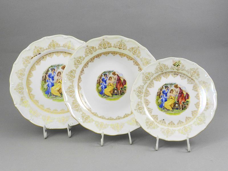 Фото Набор тарелок 18 предметов с десертной тарелкой 19 см Форма Верона Мадонна Золото