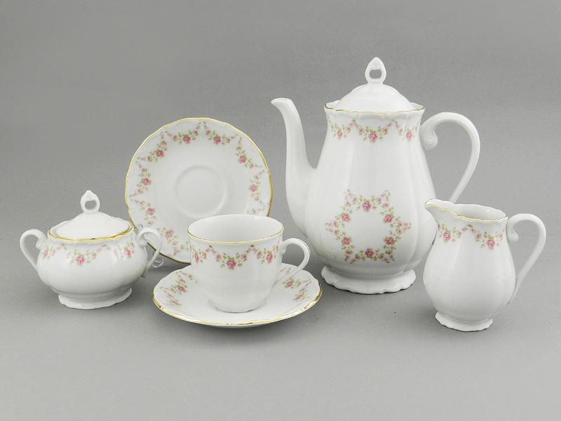 Фото Сервиз кофейный 15 предметов на 6 персон Форма Верона Розовый бордюр