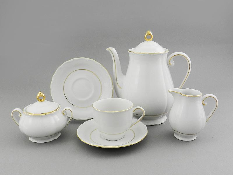Фото Сервиз кофейный 15 предметов на 6 персон Форма Верона Золотой контур