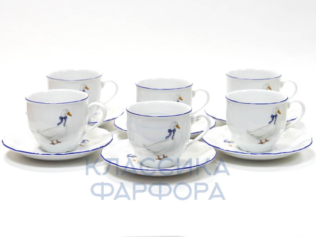 Фото Набор чашек кофейных с блюдцем Чешские гуси Форма Верона 150 мл 6 шт