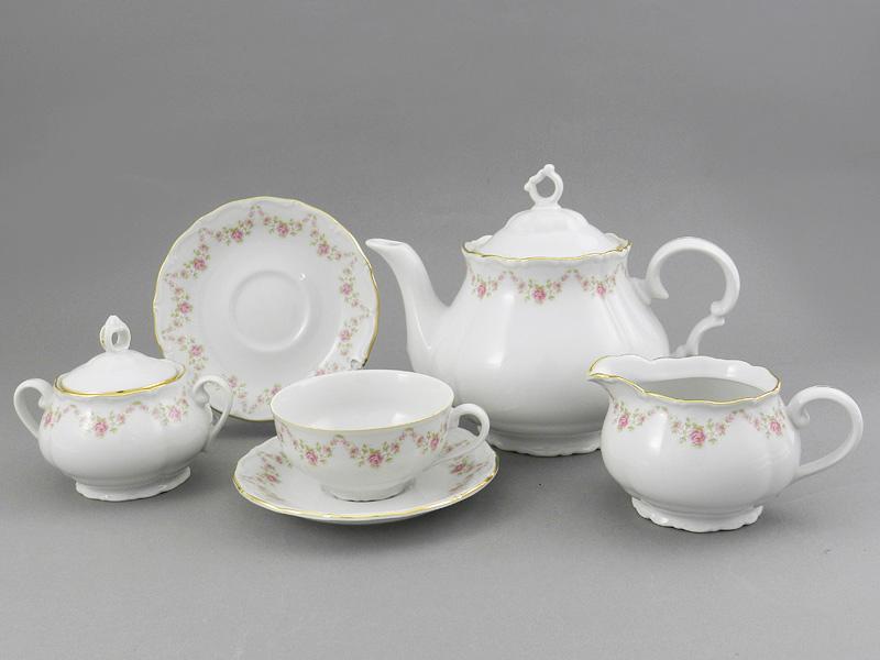 Фото Сервиз чайный 15 предметов на 6 персон Форма Верона Розовый бордюр