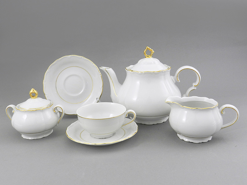 Фото Сервиз чайный 15 предметов на 6 персон Форма Верона Золотой контур