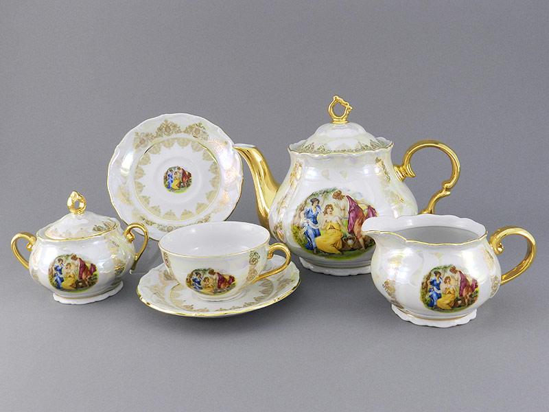 Фото Сервиз чайный 15 предметов на 6 персон Форма Верона Мадонна Золото