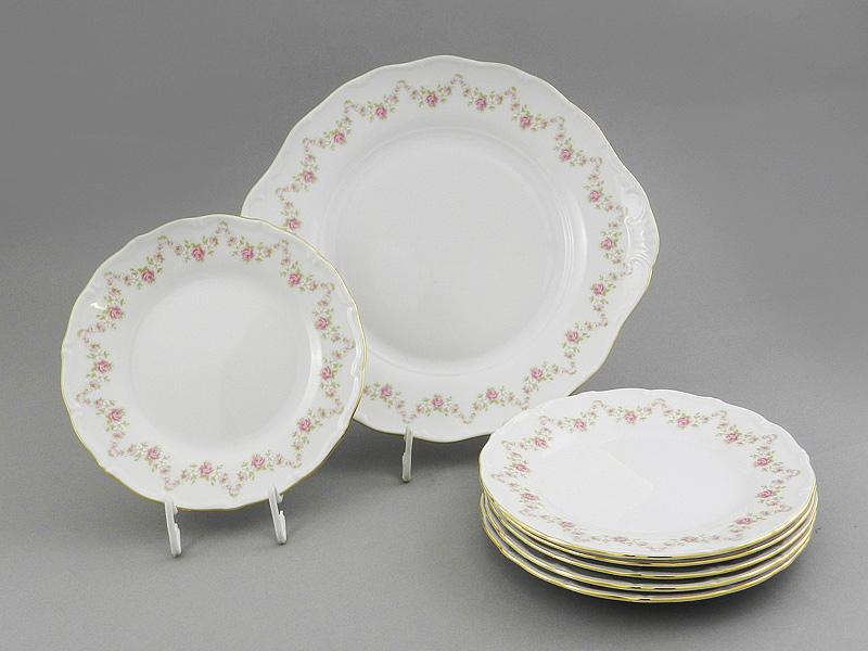 Фото Набор для торта 7 предметов на 6 персон с десертными тарелками 19 см Форма Верона Розовый бордюр