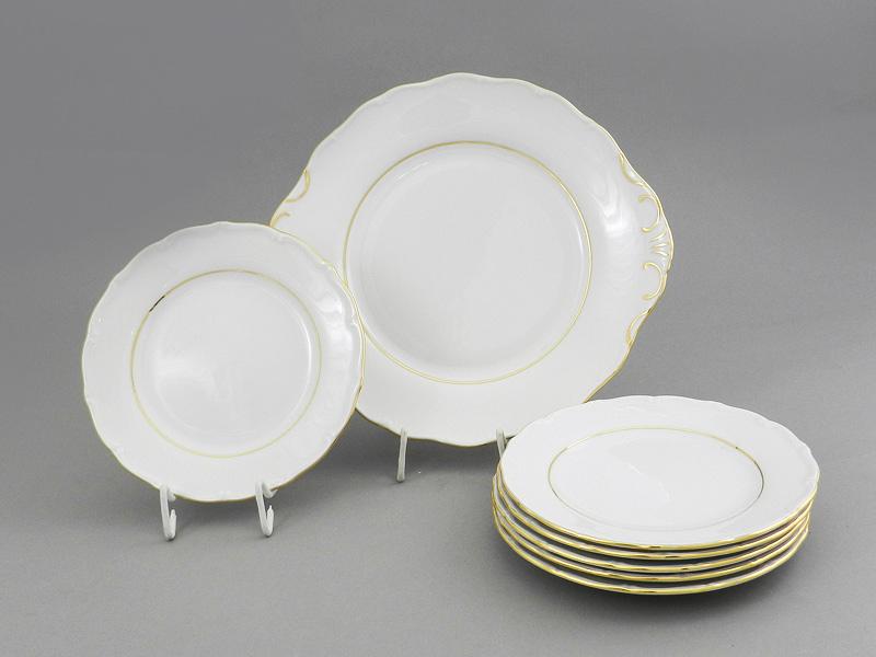 Фото Набор для торта 7 предметов на 6 персон с десертными тарелками 19 см Форма Верона Золотой контур