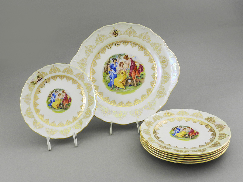 Фото Набор для торта 7 предметов на 6 персон с десертными тарелками 19 см Форма Верона Мадонна Золото