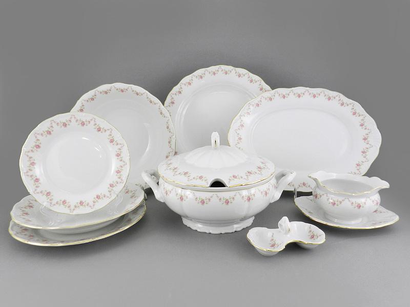Фото Сервиз столовый 25 предметов на 6 персон Форма Верона Розовый бордюр
