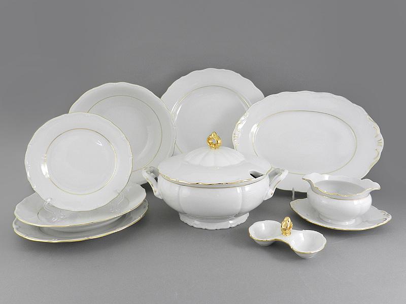 Фото Сервиз столовый 25 предметов на 6 персон Форма Верона Золотой контур