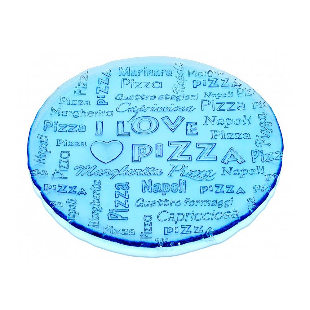 Фото Блюдо IVV I love pizza голубое 33 см