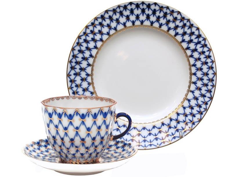 Фото Комплект кофейный Кобальтовая сетка, форма Тюльпан, 140 мл 3 предмета