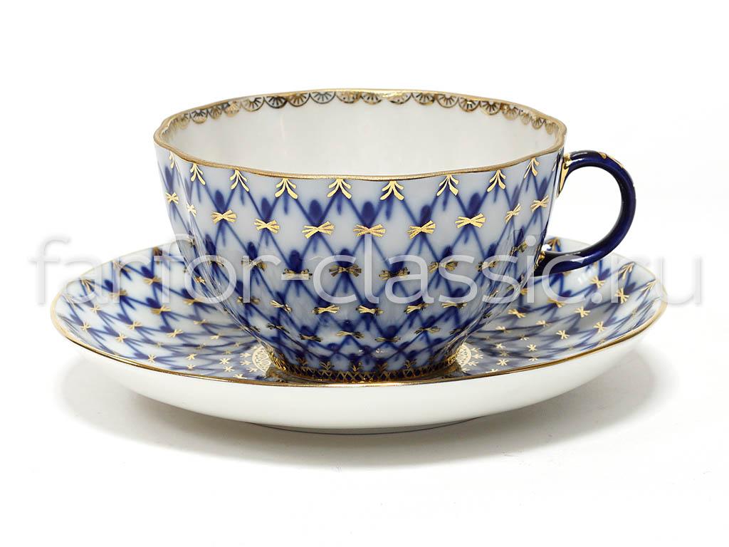 Фото Чашка с блюдцем чайная 250 мл, форма Тюльпан Кобальтовая сетка