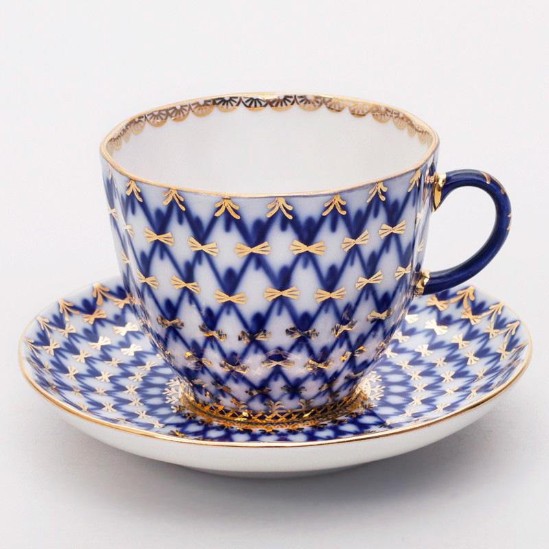 Фото Чашка с блюдцем кофейная 140 мл, форма Тюльпан Кобальтовая сетка