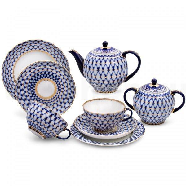 Фото Сервиз чайный Кобальтовая сетка, 6 персон 20 предметов, форма Тюльпан