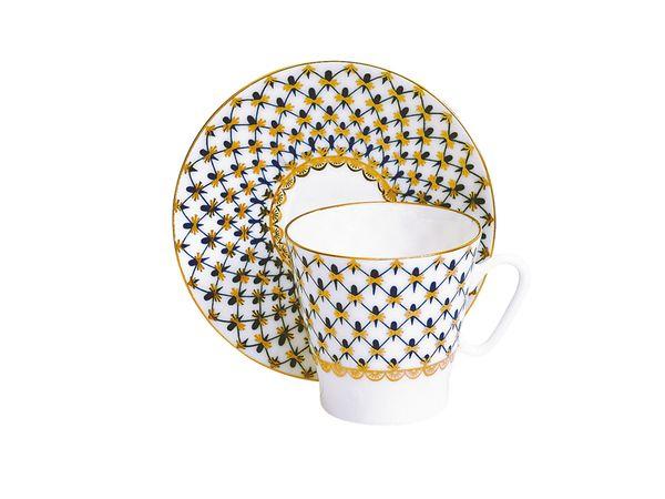 Фото Чашка с блюдцем кофейная 80 мл, форма Черный кофе, Кобальтовая сетка