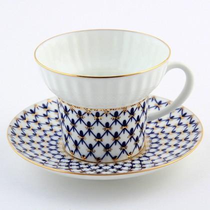 Фото Чашка с блюдцем чайная 155 мл, форма Волна, Кобальтовая сетка