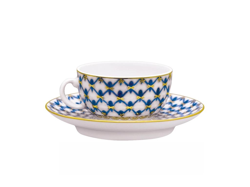 Фото Чашка с блюдцем кофейная 50 мл, форма 40 г, Кобальтовая сетка