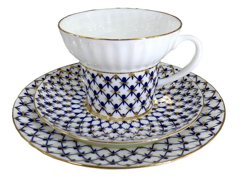 Фото Комплект чайный 155 мл, форма Волна, Кобальтовая сетка