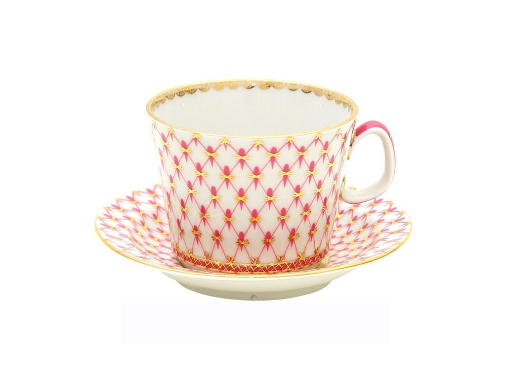 Фото Чашка с блюдцем чайная 210 мл, форма Молодежная, Сетка-блюз