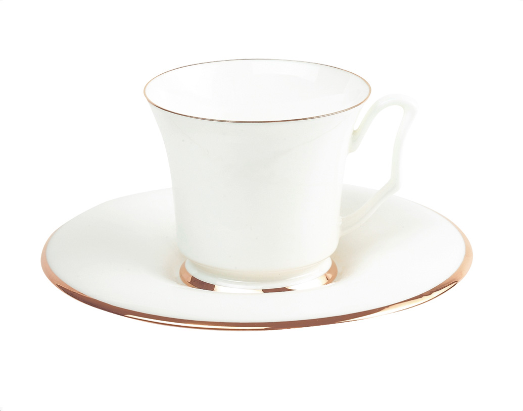 Фото Чашка с блюдцем кофейная 145 мл, форма Юлия, Золотая лента