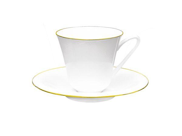 Фото Чашка с блюдцем чайная 200 мл, форма Сад Золотой кантик