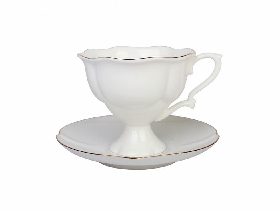 Фото Чашка с блюдцем кофейная  120 мл Золотая лента форма Наташа
