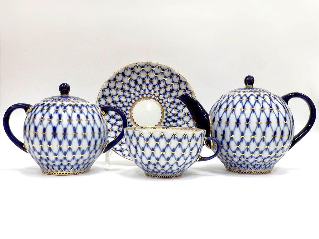 Фото Сервиз чайный Кобальтовая сетка, 6 персон 14 предметов, форма Тюльпан