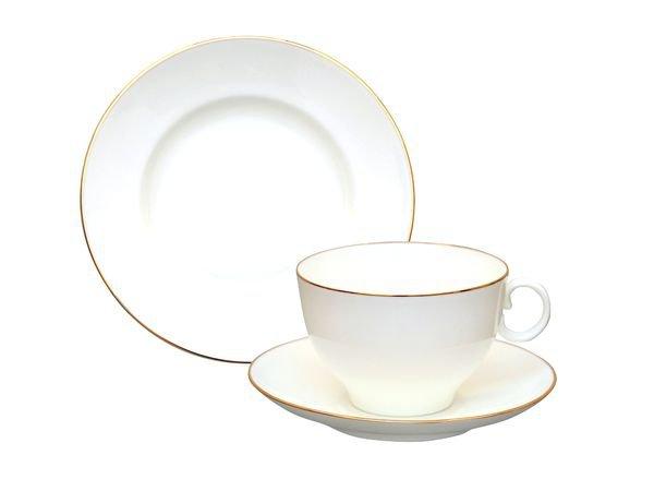 Фото Комплект чайный Золотой кант 160 мл, форма Яблочко, 3 предмета