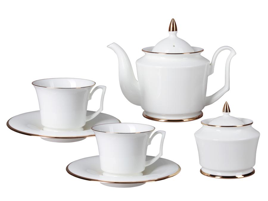 Фото Сервиз чайный ИФЗ, форма Юлия, Золотая лента, 14 предметов на 6 персон