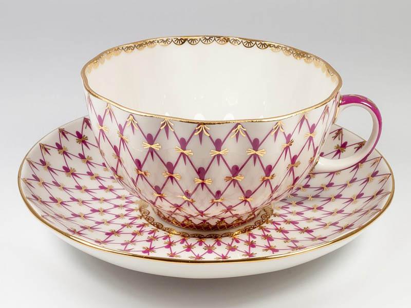 Фото Чашка с блюдцем чайная Сетка-блюз 2, форма Тюльпан, 250 мл