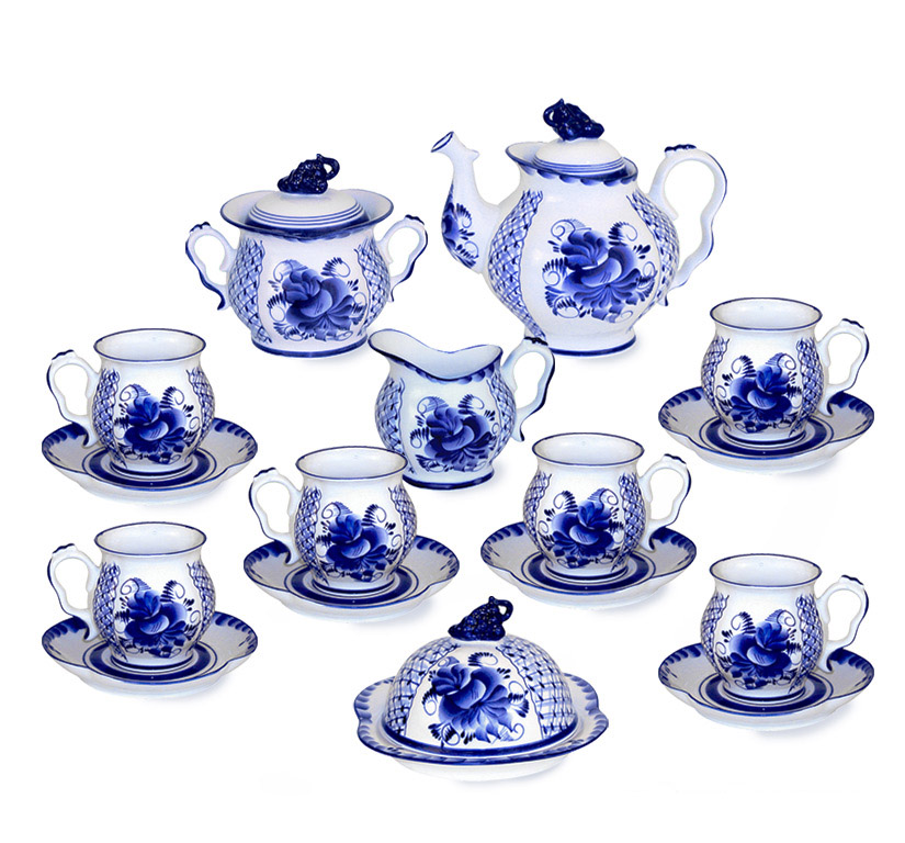 Фото Сервиз чайный Гжель Голубая Рапсодия 16 предметов на 6 персон