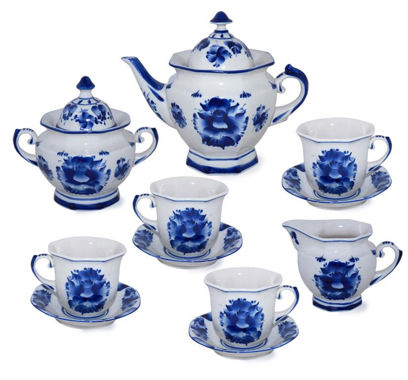 Фото Сервиз чайный Гжель Граненый 15 предметов на 6 персон
