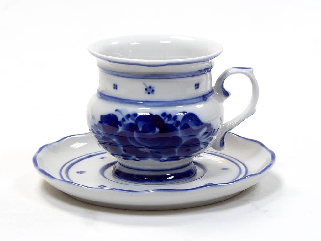 Фото Чашка чайная с блюдцем Гжель Голубка 250 мл
