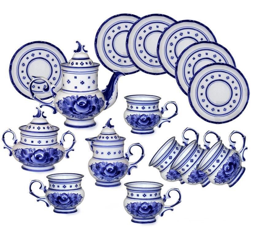 Фото Сервиз чайный Гжель Голубка 15 предметов на 6 персон