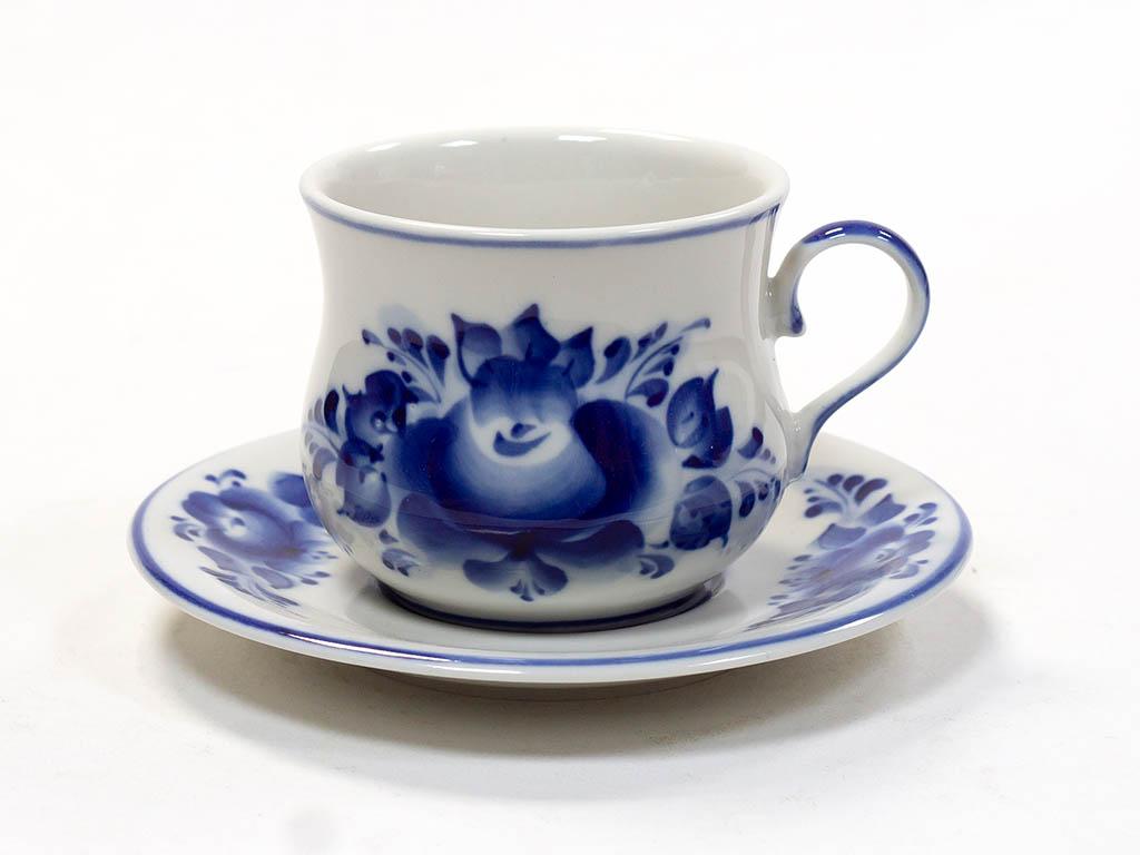 Фото Чашка чайная с блюдцем Гжель Сервизная 200 мл