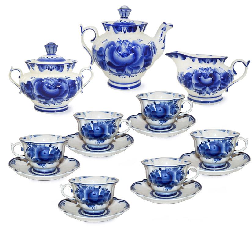 Фото Сервиз чайный Гжель Орхидея 15 предметов на 6 персон