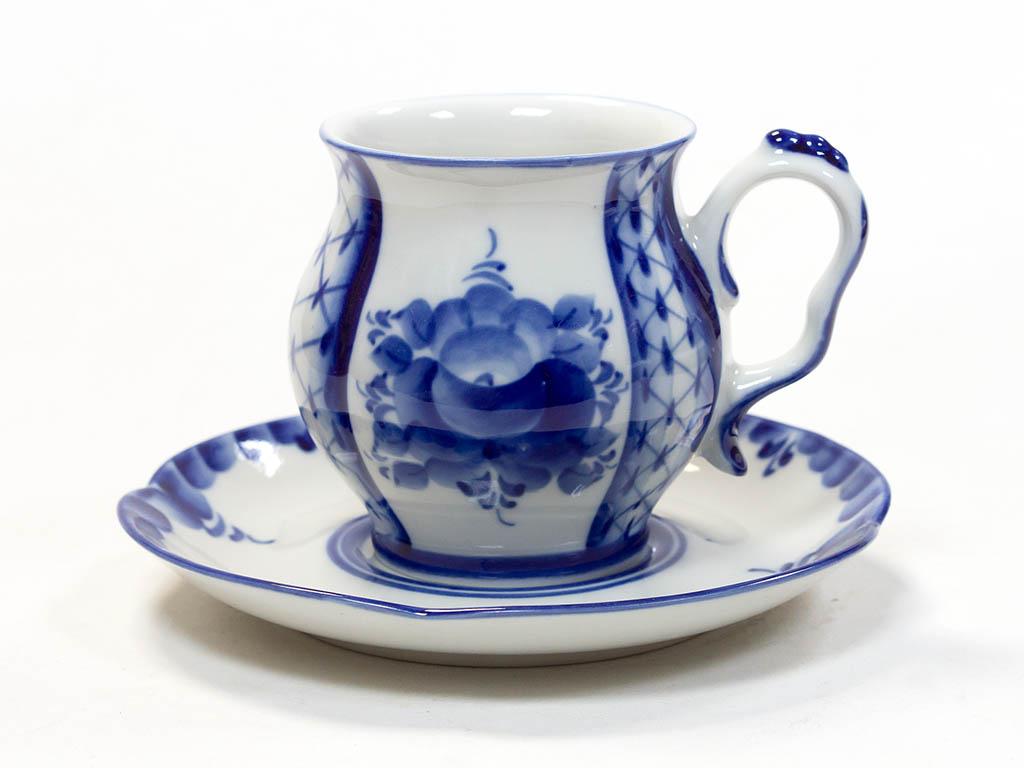 Фото Чашка чайная с блюдцем Гжель Голубая рапсодия 350 мл